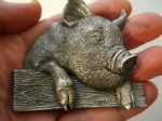 PIG & FENCE BELT BUCKLE + display stand
